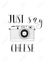 写真のレタリングとカメラ ちょうどチーズを言いますベクトルは手描き下ろしイラストです
