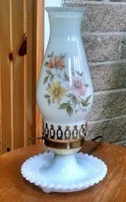 milk glass hurricane lantern lamp with hand painted fl shade