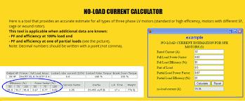 Motor Amperage Chart Motor No Load Currents Electric Motors Generators