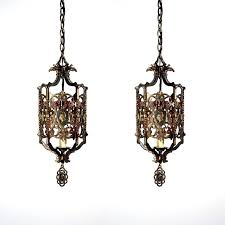 spanish light fixtures santa barbara two matching antique revival bronze pendant lights 1 modern spanish light