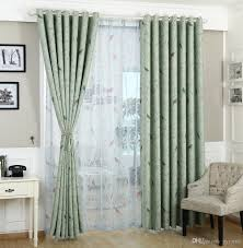 traditional turquoise green birds pattern thermal insulated print blackout curtain for bedroom silver grommet top