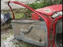 car door berchtesgaden landslide car wreck broken natural disaster mud