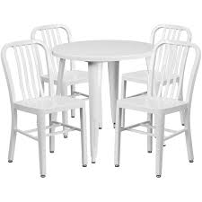 30 round white metal indoor outdoor table set with 4 vertical slat back chairs