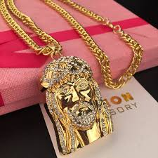 mcsays hip hop jewelry golden iced out bling head piece rhinestone cross charm pendant long