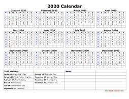 2020 Calendar Printable With Us Holidays Printable Calendar 2020 Free Download Yearly Calendar