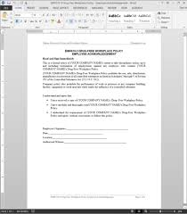 Free Office Procedures Manual Template DrugFree Workplace Acknowledgement Template EMH2424 22