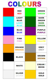Color Shade Chart Learning Colours Colour Chart