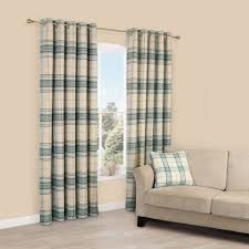 Lamego Duck Egg & Cream Tartan Brushed Eyelet Lined Curtains (W)167 cm  (L)228 cm | Departments | DIY at B&Q