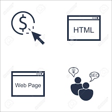 Set Of SEO, Marketing And Advertising Icons On Web Page, HTML..