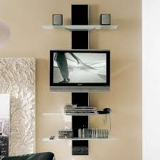 decoration: Breathtaking Unusual Tv Stands With Modern LED TV Under Two  Square Speaker Above DVD