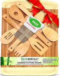 with bonus 6 wooden spoons onion holder extra large 18x12 organic bamboo cutting board housewarming
