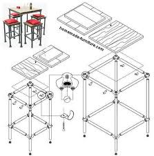 construction drawing plan to make a barstool and high bar tables from repurposed scaffolding