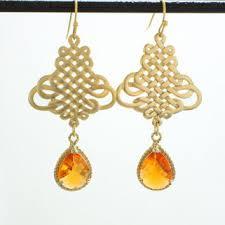 chandelier tangerine orange glass stone gold earrings bea