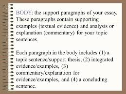 commentary example in essays body paragraph structure commentary  commentary