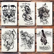 корона череп якорь цветок временные татуировки наклейки розовые пиратские