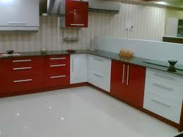Captivating Modular Kitchen Design Concepts 2013 : Extraordinary Striped  Peach And Orange Walls Modular Kitchen Concept With Red And White Cabinet