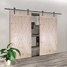 solid room divider wood slab interior barn door set of 2