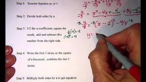 completing the square to get vertex form of quadratic equation 1 you