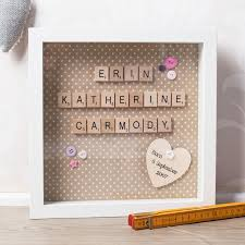 personalised box frame wooden tiles