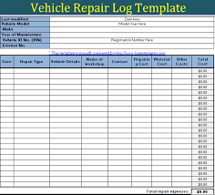 Vehicle Repair Log Templates 10 Free Word Excel Pdf