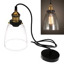 modern vintage industrial metal loft glass cone ceiling lamp shade pendant light