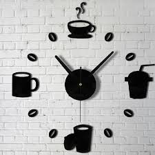 coffee cups kitchen wall art mirror clock modern design home decoration decor wall sticker for living room width 3 11 cm1697 in wall stickers from home  on black wall art for kitchen with coffee cups kitchen wall art mirror clock modern design home