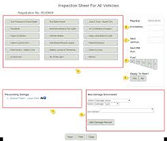 inspection sheet vehicle inspections vehicle condition reports rental car manager