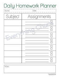 Homework Chart Template For Teachers Printable Homework Organizer Sada Margarethaydon Com