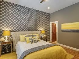 yellow and gray bedroom wall decor