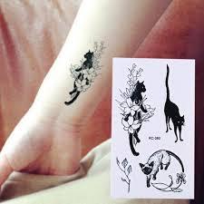 Vodotěsné Dočasné Tetování černá Kočka Totem Tattoo Transfer Fake Tattoo Flash Tetování At Vova
