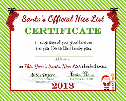 Printable Christmas Certificates Santa's Official Nice List Certificate Free Printable by 10