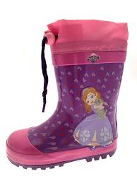disney girls kids princess sofia rubber snow boots size uk 5 11 5