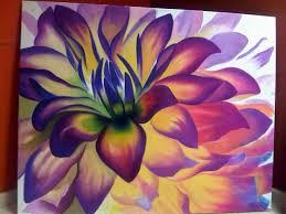 dahlia flower oil painting art painting talent