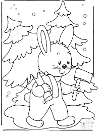 Kleurplaat Konijn Cute Kaninchen Im Schnee Malvorlagen Wintertiere