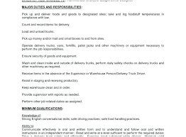 Fresh Ideas Delivery Driver Job Description Resume Delivery Driver