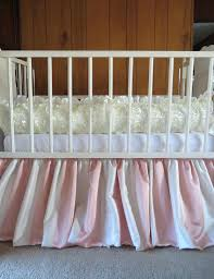 ivory rosette pers and stripe skirt 2 set handmade crib bedding sets my
