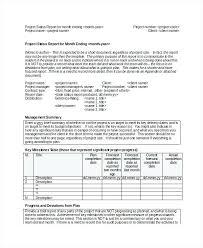Sample Weekly Status Report Template Progress Status Report Template Weekly Project Status Report