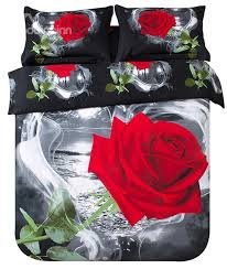 3d red rose in heart shape printed cotton 4 piece black bedding sets