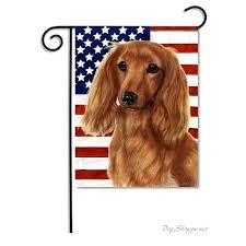 dachshund flag red patriotic ii garden holiday flags