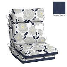 hampton bay flower show high back outdoor dining chair cushion 2 pack