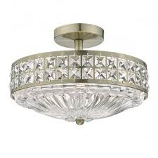 traditional semi flush antique brass and crystal ceiling light