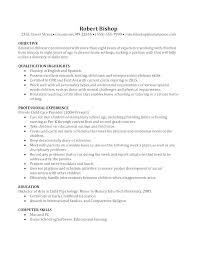Sample Resume For Nanny Position