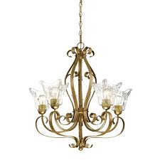 sworth collection 5 light vintage gold chandelier with clear glass