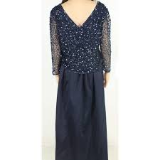 Patra Dress Size Chart Patra Womens Gown Navy Blue Size 16 Beaded Illusion 3 4 Sleeve