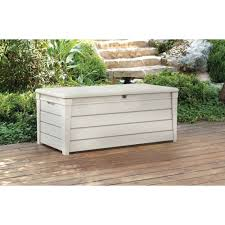 keter brightwood outdoor plastic deck box all weather saveenlarge the simplest outdoor storage bench plans