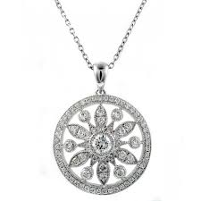 18ct white gold 0 85ct pave set diamond circular pendant jewellery from mr harold and son uk