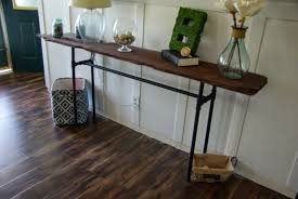 distressed industrial furniture. narrow industrial distressed console table made from reclaimed solid wood and black metal pipe legs ideas furniture e