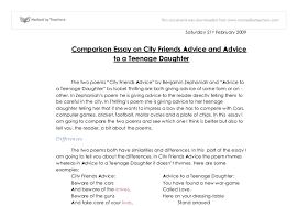 comparison essay on city friends advice and advice to a teenage document image preview