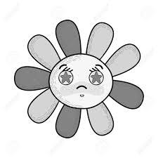 目の中の星とグレー スケールかわいい怒っている花のイラスト