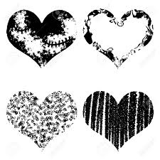 hearts silhouette drawn black hearts silhouette on white background symbol of